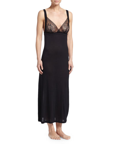 La Perla Myrta Lace-Front Long Nightgown