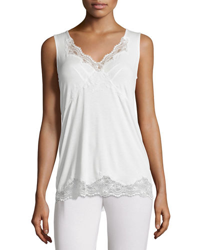 Topazio Lace-Trimmed Pajama Top, Ivory/Turchese