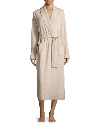 Topstitched Shawl-Collar Cashmere Robe