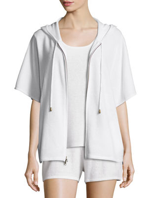 Cashmere Short-Sleeve Hooded Zip Jacket