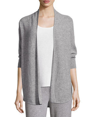 Dolman-Sleeve Textured Cashmere Cardigan