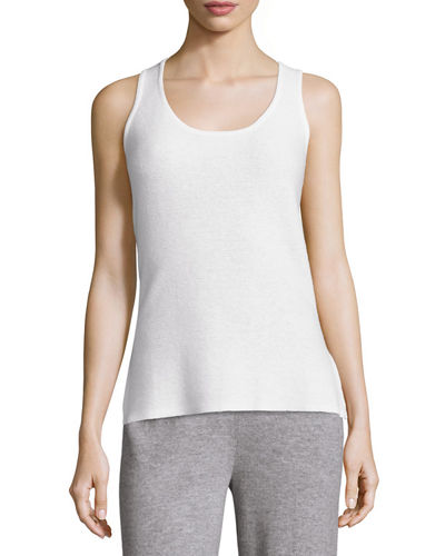 Neiman Marcus Cashmere Collection Basic Textured Cashmere Tank