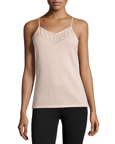 Cashmere Camisole with Lace Bib