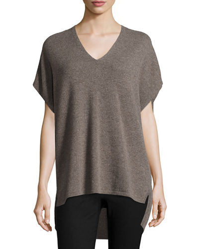 V-Neck Cashmere Cocoon Tunic