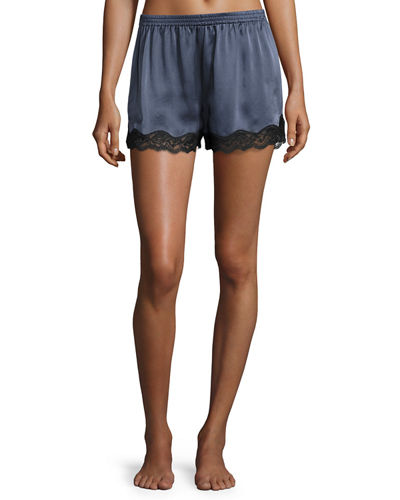 Lace-Trimmed Silk Lounge Shorts