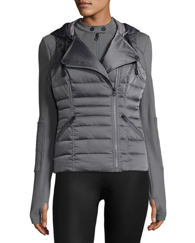 Blanc Noir 3-in-1 Satin Packable Moto Jacket &