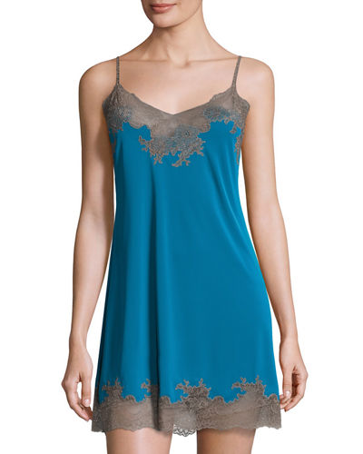 Enchant Lace-Trim Chemise, Seaport Blue