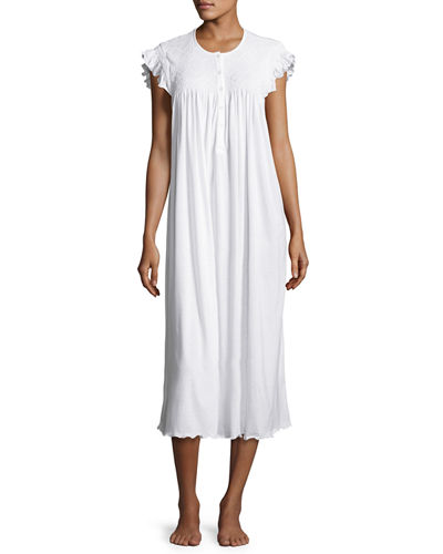 Daisy Embroidered Long Cotton Nightgown