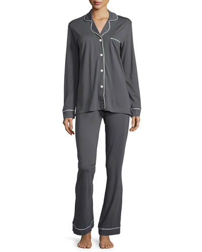 Bella Contrast-Trim Long-Sleeve Pajama Set