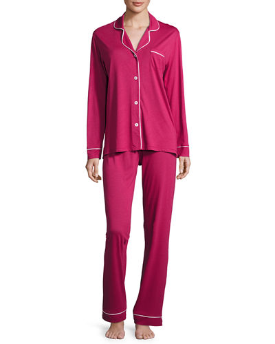 Bella Long-Sleeve Pajama Set, Deep Ruby/Ivory