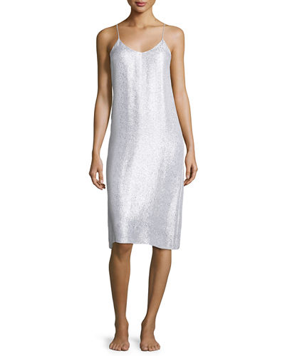 Marie France Van Damme Metallic Shift Midi Slip