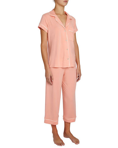 Gisele Cropped Two-Piece Jersey Pajama Set , Pink