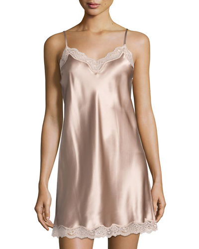 Lace-Trimmed Silk Chemise