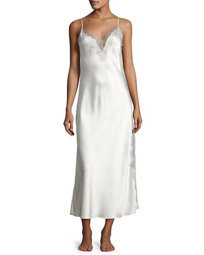 Christine Designs Midsummer Lace-Trim Long Silk Nightgown