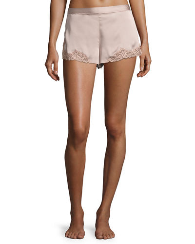 Feathers Lace-Trim Satin Lounge Shorts