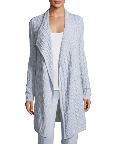 Cashmere Cable-Knit Drape Cardigan