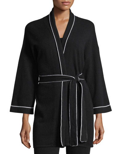 Cashmere Tipped Tie-Front Bed Jacket/Robe