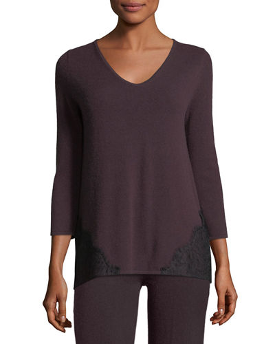 Cashmere Lace-Trim Lounge Top