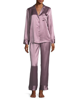 Neiman Marcus Silk Satin Two - Piece Pajama Set