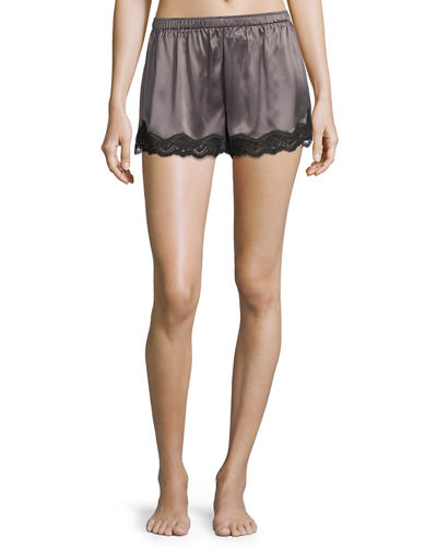 Neiman Marcus Lace-Trimmed Silk Shorts