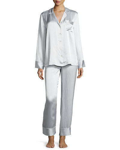 Satin Silk Two-Piece Pajama Set