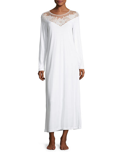 Hanro Rosalie Long Sleeve Gown