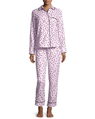 bow-print brushed twill long pajama set