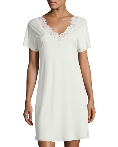 Livia Short-Sleeve Lace-Trim Gown