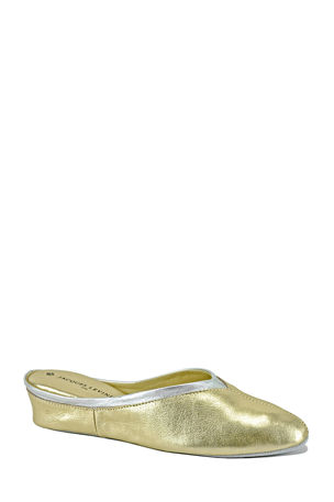 Jacques Levine Metallic Leather Wedge Mule Slippers