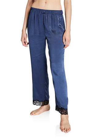 Neiman Marcus Silk Satin Lace-Trim Lounge Pants