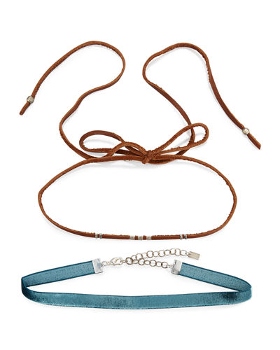 Two-Piece Leather & Velvet Choker Necklace Set