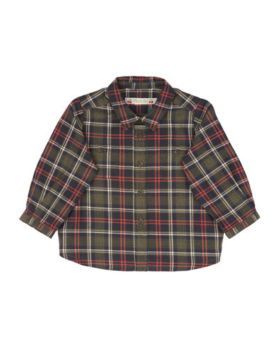 Long-Sleeve Plaid Poplin Shirt, Size 6-12 Months