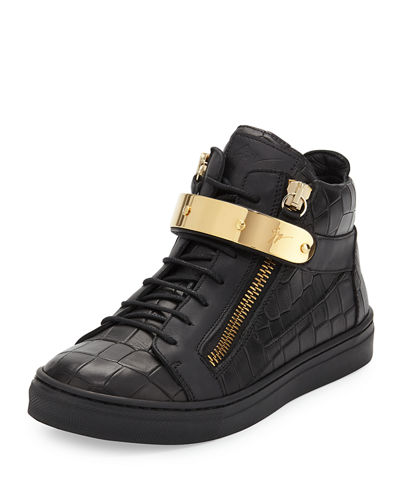 Giuseppe Zanotti Kids' Unisex Croc-Embossed Leather Sneaker,