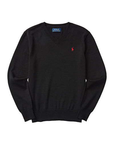 Ralph Lauren Premium Cotton V-Neck Pullover Sweater, Size
