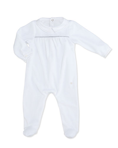 Collared Velour Footie Pajamas, Size 1-9 Months