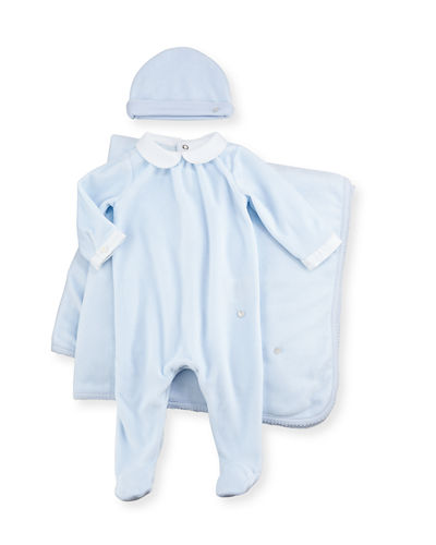 Velour Footie Pajama Gift Set, Size 1-6 Months