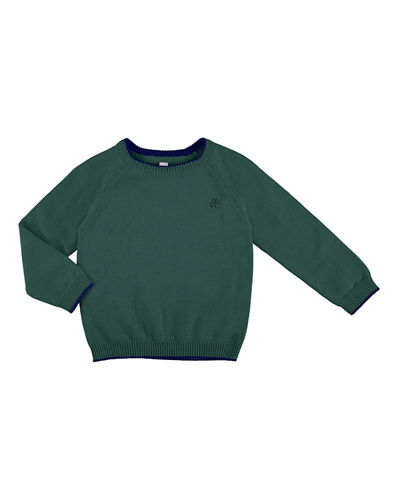Long-Sleeve Crewneck Sweater, Size 3-7
