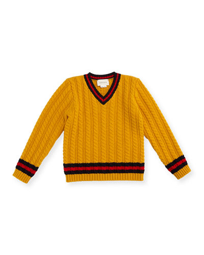 Gucci Cable-Knit Wool Sweater, Boys' 9-36 Months
