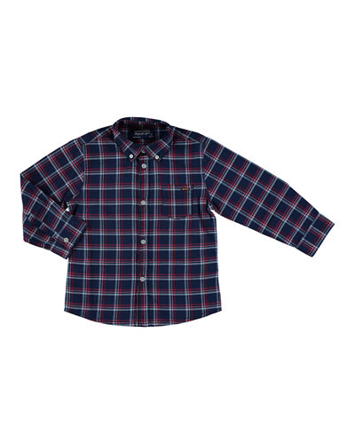 MAYORAL Long-Sleeve Plaid Button-Down Shirt, Size 3-7