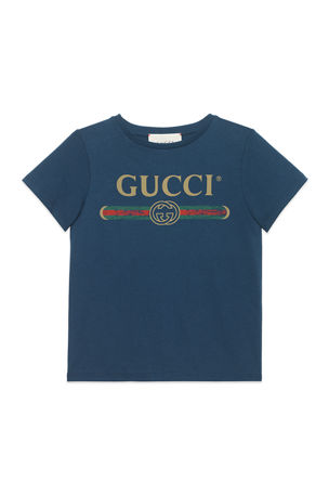 Gucci Girl's Vintage Logo Short-Sleeve Jersey T-Shirt, Size 4-10
