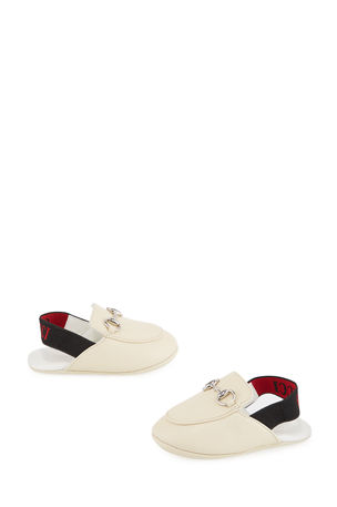 Gucci Princetown Leather Horsebit Mule Slides, Baby/Toddler