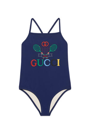 Gucci Girl's One-Piece Logo Tennis Embroidered Swimsuit, Size 4-10