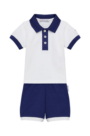 Moncler Two-Tone Piquet Stretch Polo Shirt w/ Matching Shorts, Size 3M-3