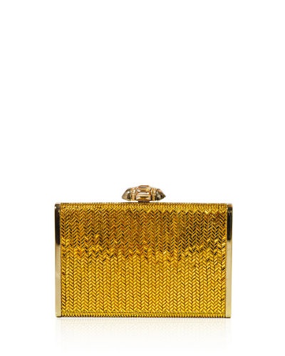 Herringbone Tall Crystal Rectangle Clutch Bag