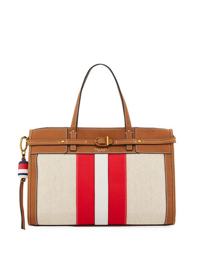 Striped Canvas & Suede Satchel Bag