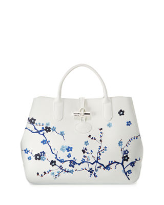 LONGCHAMP ROSEAU SAKURA FLORAL MEDIUM TOTE BAG, BLUE PATTERN