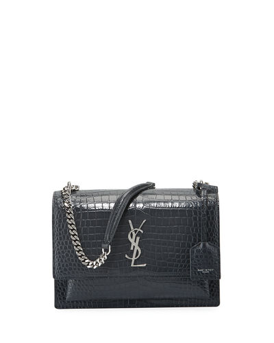 Saint Laurent Sunset Medium Crocodile-Embossed Crossbody Bag