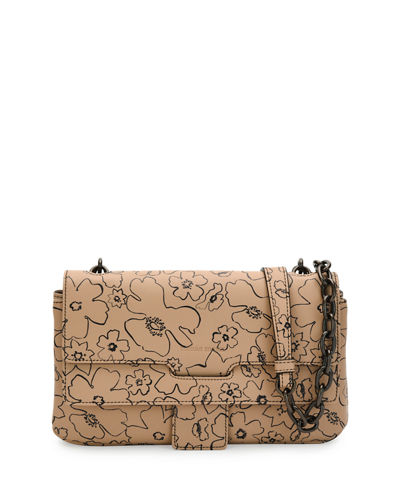 T Floral Matte Leather Crossbody Bag