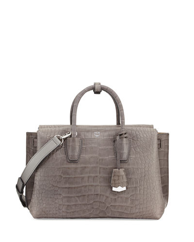 MCM Milla Medium Crocodile-Embossed Tote Bag