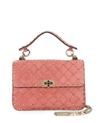 Rockstud Medium Quilted Suede Shoulder Bag